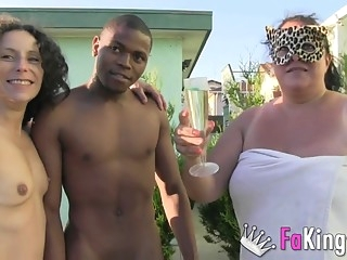 bbw An interracial threesome with a BBW outdoors brunette