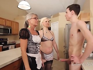 hd Mature ladies are taking turns sucking dicks while their younger friend is enjoying it a lot lingerie