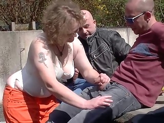 gangbang German mature is getting banged in the late afternoon and enjoying every single second of it german