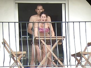 anal The neighbor gets fucked from all sides on the balcony cumshot